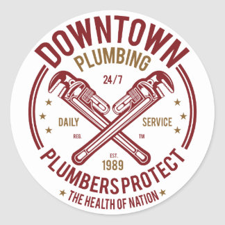 Downtown Plumbing Daily Service 24/7 Plumber Classic Round Sticker