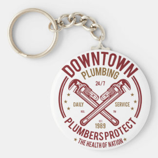 Downtown Plumbing Daily Service 24/7 Plumber Keychain