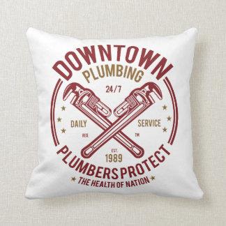 Downtown Plumbing Daily Service 24/7 Plumber Throw Pillow
