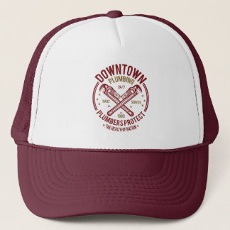 Downtown Plumbing Daily Service 24/7 Plumber Trucker Hat