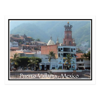 downtown Puerto Vallarta with border postcard