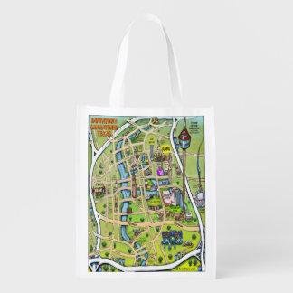 Downtown San Antonio Texas Cartoon Map Grocery Bags