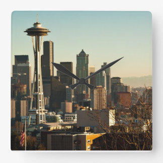 Downtown Seattle skyline and Space Needle Wallclocks