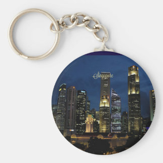 Downtown Singapore at Night Keychain