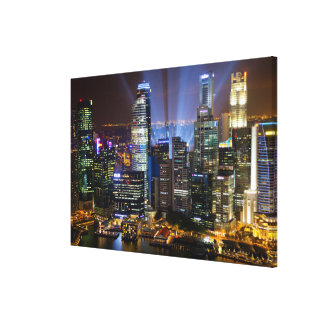 Downtown Singapore city at night Canvas Print