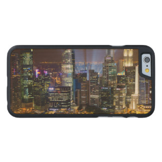 Downtown Singapore city at night Carved Maple iPhone 6 Case