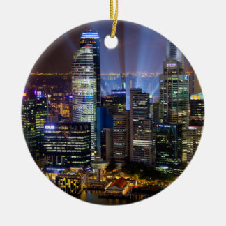 Downtown Singapore city at night Ceramic Ornament