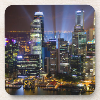 Downtown Singapore city at night Coaster