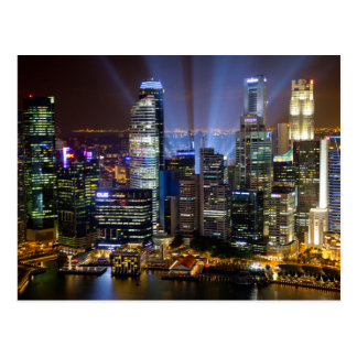 Downtown Singapore city at night Postcard