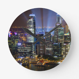 Downtown Singapore city at night Round Clock
