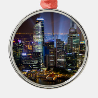 Downtown Singapore city at night Silver-Colored Round Ornament