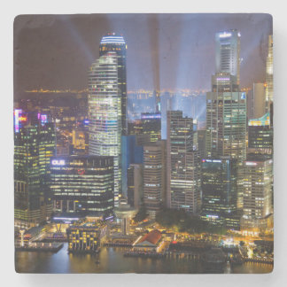 Downtown Singapore city at night Stone Coaster