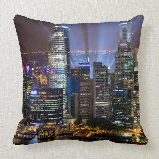 Downtown Singapore city at night Throw Pillow