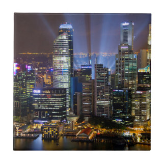 Downtown Singapore city at night Tile