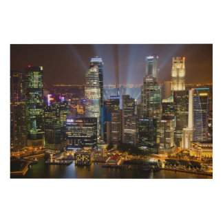 Downtown Singapore city at night Wood Print