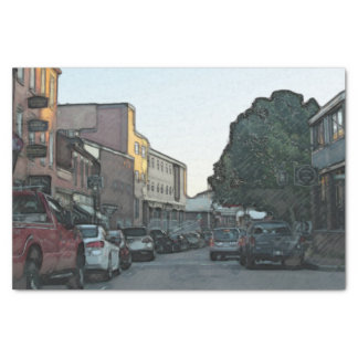 Downtown Street in a New England City Tissue Paper