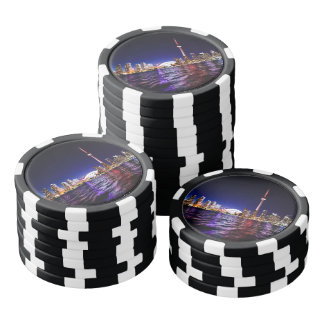 Downtown Toronto Canada cityscape at night Poker Chips