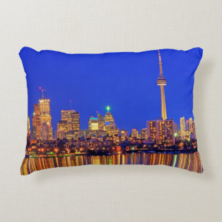 Downtown Toronto skyline at night Accent Pillow