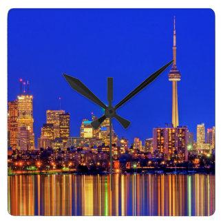 Downtown Toronto skyline at night Square Wall Clock