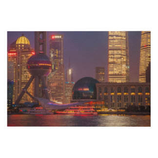 Downtown waterfront shanghai, China Wood Print