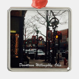 Downtown Willoughby Christmas Photo Ornament