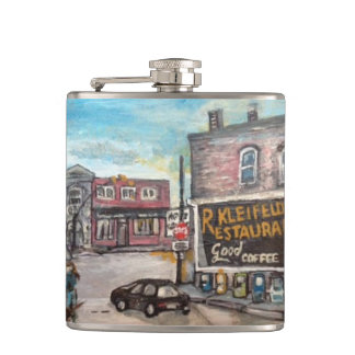 Downtown Willoughby,Ohio Dog Walk flask