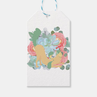 Downward Dog with Flowers Gift Tags