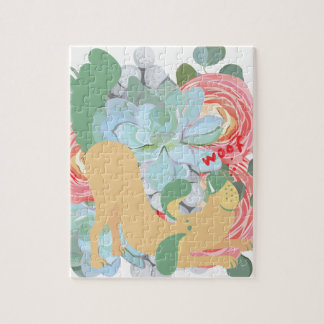 Downward Dog with Flowers Jigsaw Puzzle