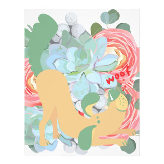 Downward Dog with Flowers Letterhead
