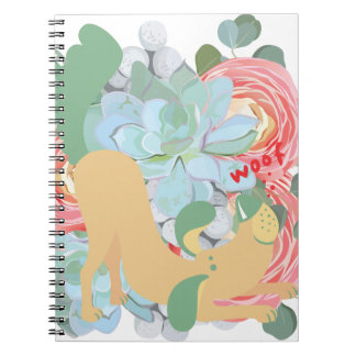 Downward Dog with Flowers Notebook