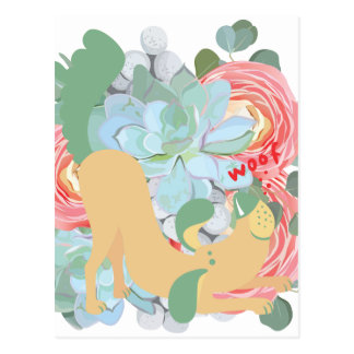 Downward Dog with Flowers Postcard