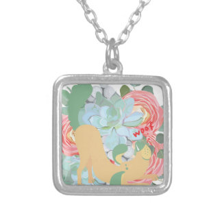 Downward Dog with Flowers Silver Plated Necklace