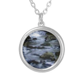 downward flow of creek silver plated necklace
