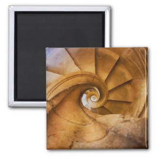 Downward spirl staircase, Portugal Square Magnet
