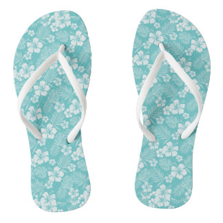 Downy Blue Hawaiian Flip Flops