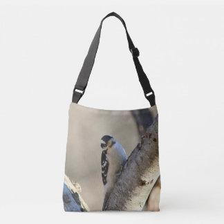 Downy woodpecker crossbody bag