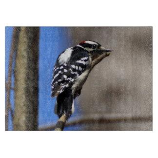 Downy Woodpecker Decorative Glass Cutting Board