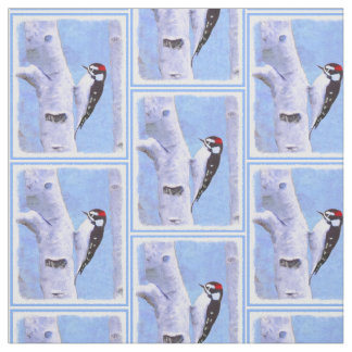 Downy Woodpecker Fabric