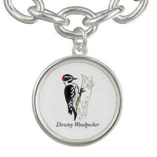 Downy Woodpecker Illustration Charm Bracelets