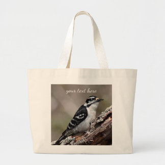 Downy woodpecker large tote bag