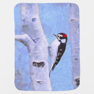 Downy Woodpecker Painting - Original Bird Art Baby Blanket