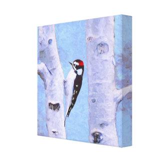 Downy Woodpecker Painting - Original Bird Art Canvas Print