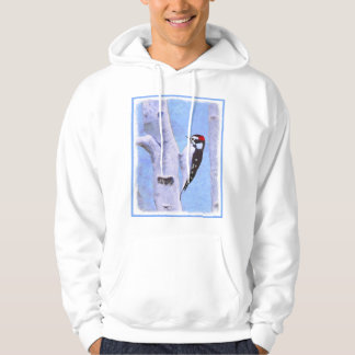 Downy Woodpecker Painting - Original Bird Art Hoodie