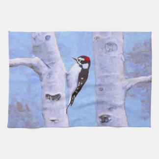 Downy Woodpecker Painting - Original Bird Art Kitchen Towel