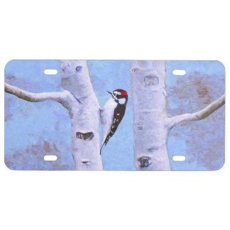 Downy Woodpecker Painting - Original Bird Art License Plate