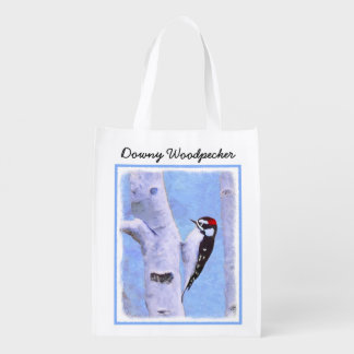 Downy Woodpecker Painting - Original Bird Art Reusable Grocery Bag