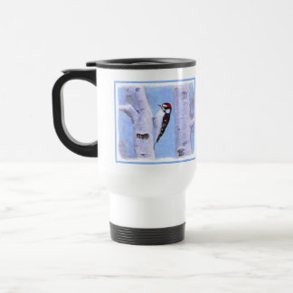 Downy Woodpecker Painting - Original Bird Art Travel Mug