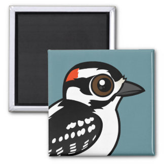 Downy Woodpecker Square Magnet