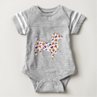 Doxie-Butterfly--White Baby Bodysuit