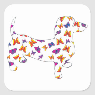 Doxie-Butterfly--White Square Sticker